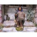 Bauer mit Spaten und Sack 12 cm aus Ton/Stoff