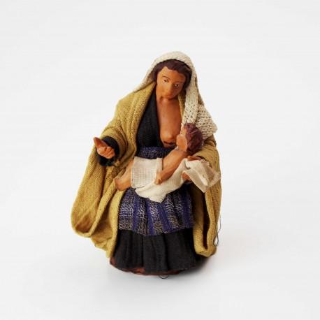 Stillende Frau 12 cm aus Ton/Stoff