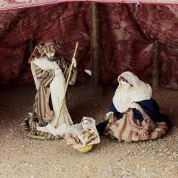 Heilige Familie 10cm, Krippenfiguren mit Kleidung