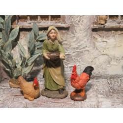 Magd mit Hühner